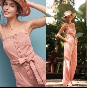 Anthropologie Desmond coral pink wideleg jumpsuit